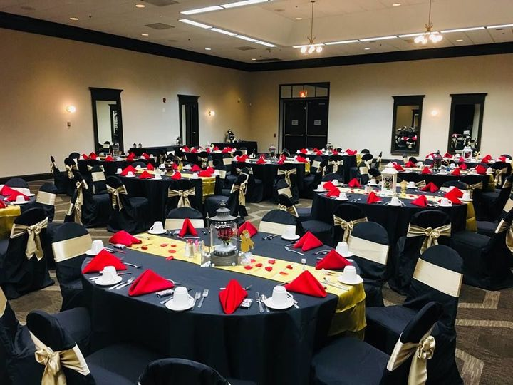 Reception tables with red napkins