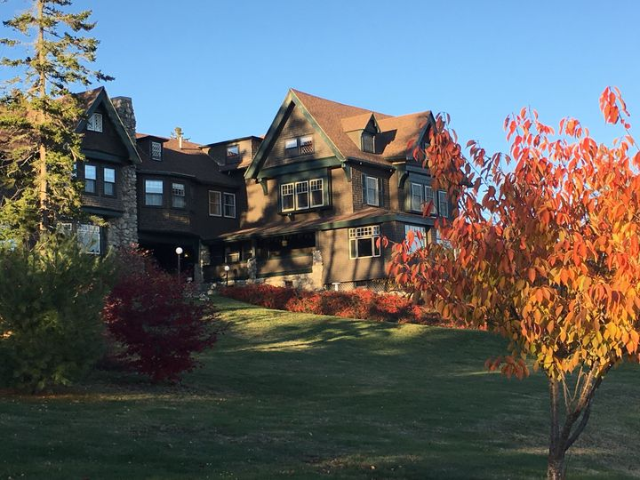 Manor exterior and autumn leaves