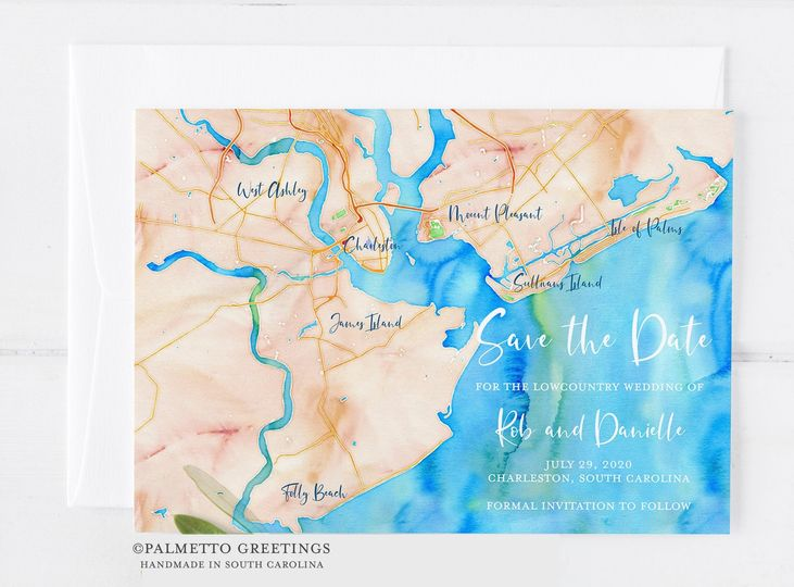 Watercolor Map Save the Date