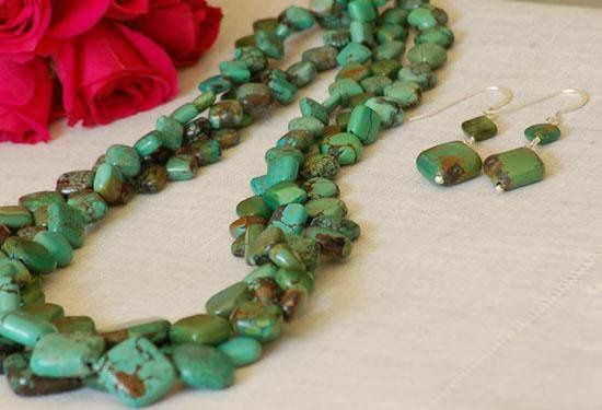 Triple Strand Turquoise Necklace & Turquoise Earrings