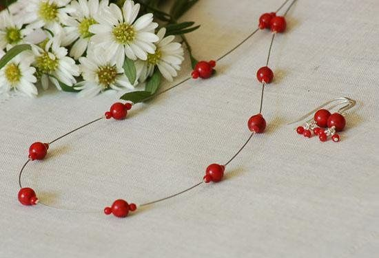 Spaced Red Coral Necklace & Red Coral Earrings