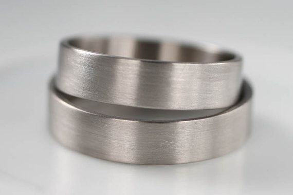 His and His Palladium Wedding Band or Men's Engagement Ring Set - eco-friendly 950 Palladium ring -...