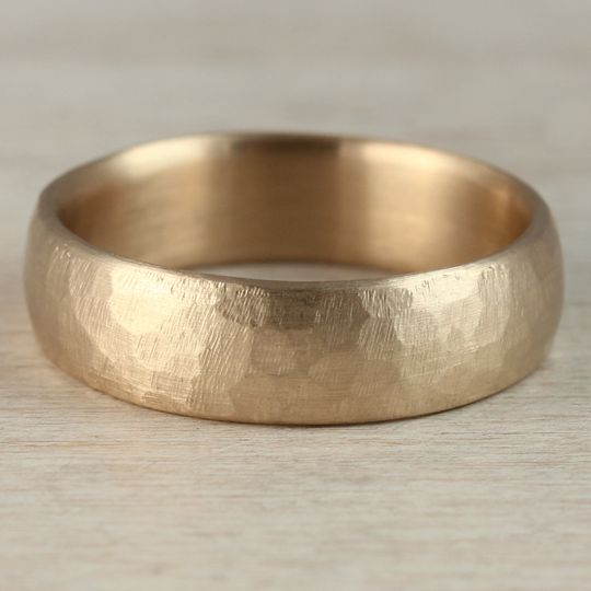 14k yellow gold 6mm stone texture hand carved clas