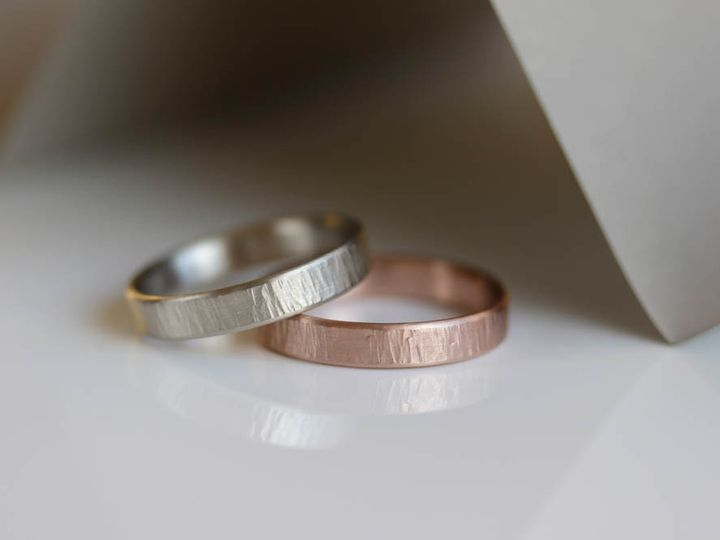 Tmx His His Wood Texture Band Hers Hers Matching Wedding Bands Rose Gold Ring Wood Texture Wedding Band Wood Ring Simple Textured Wedding Rings 51 578348 1560193973 Seattle, WA wedding jewelry