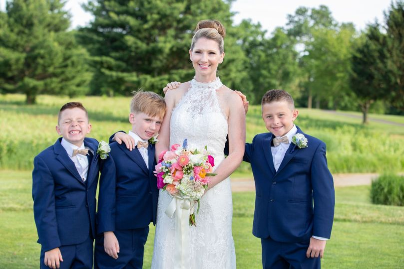 Bride with the boys