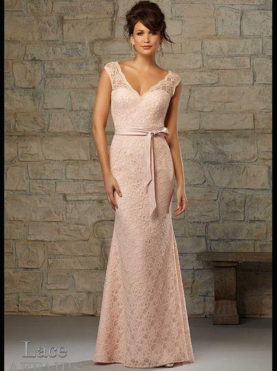 v neck lace floor length mori lee bridesmaid dress
