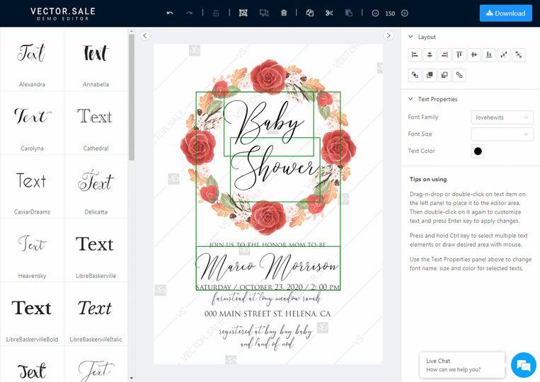 Edit wedding invitation online