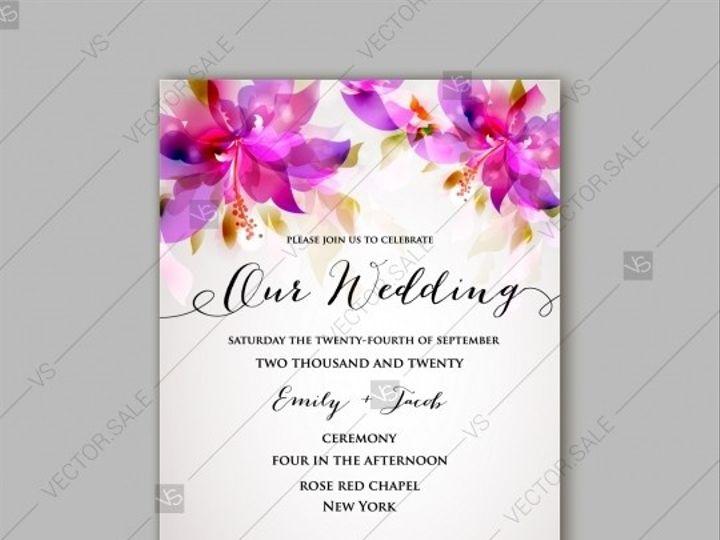 Tmx 1509577730803 Stock Vector Romantic Pink Hibiscus Peony Bouquet  Tampa wedding invitation