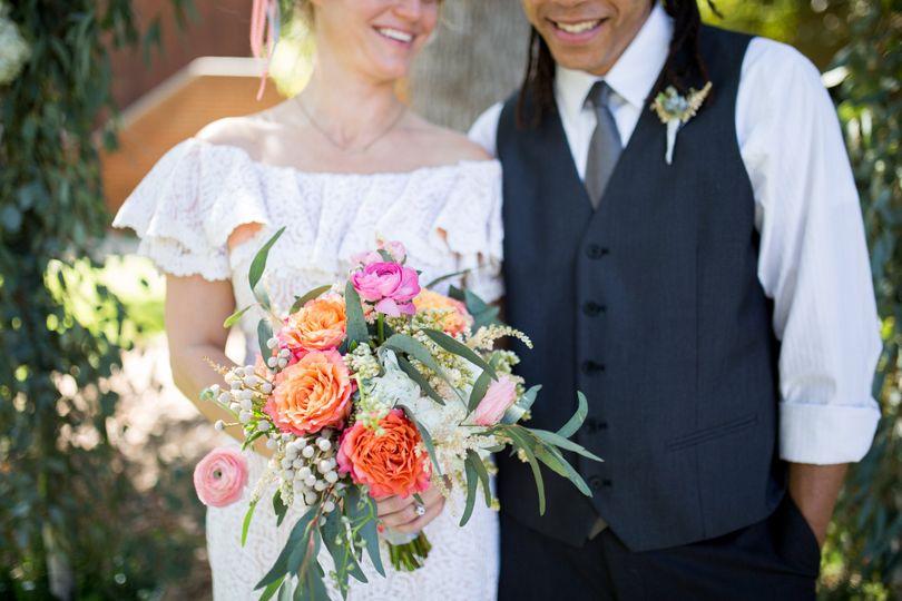 Orange and pink bouquet