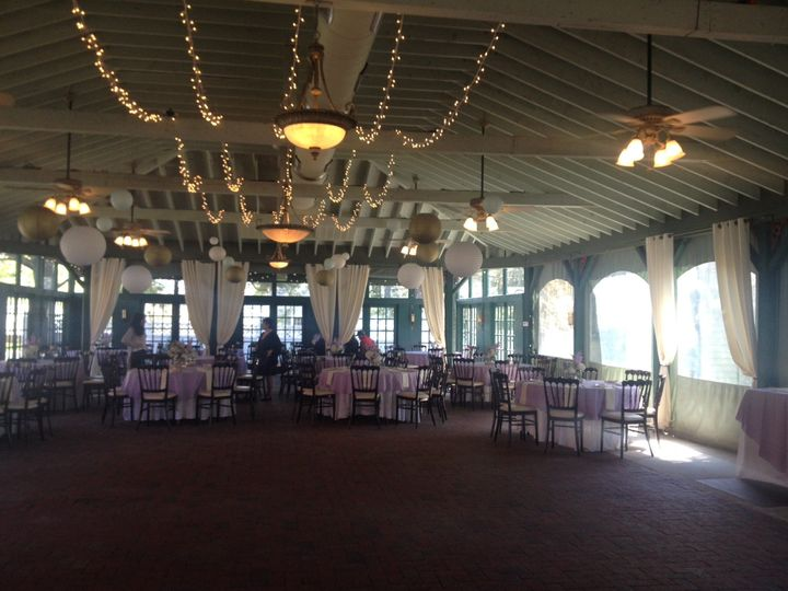 Main room, located outside of the mansion, where ceremony and reception took place.  Room was...