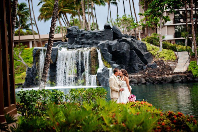 hawaiian destination wedding photo of a bride gro