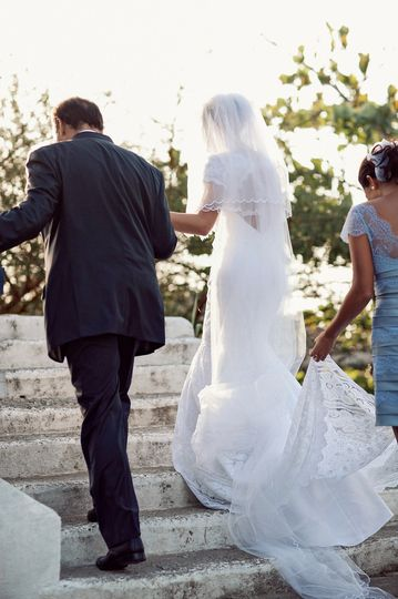 Bride walks to ceremony