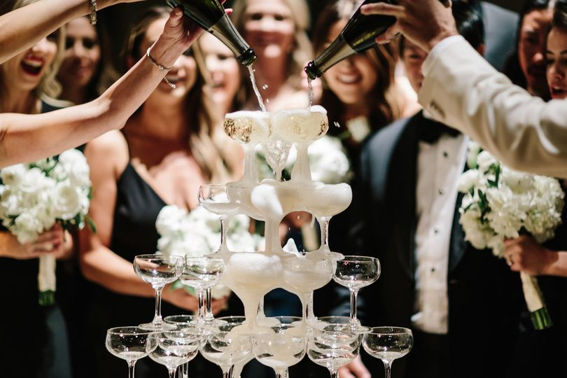 Champagne tower NY wedding