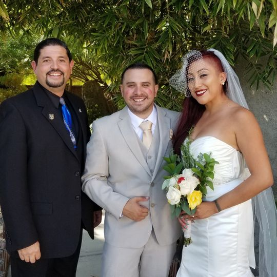 Celebrating a new life together in the gazebo at the historic coachella valley history museum in...