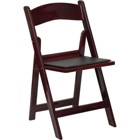 mahogany resin folding chair black seat caloosa te