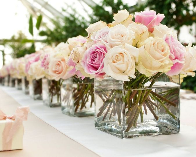 Flowers in glass boxes