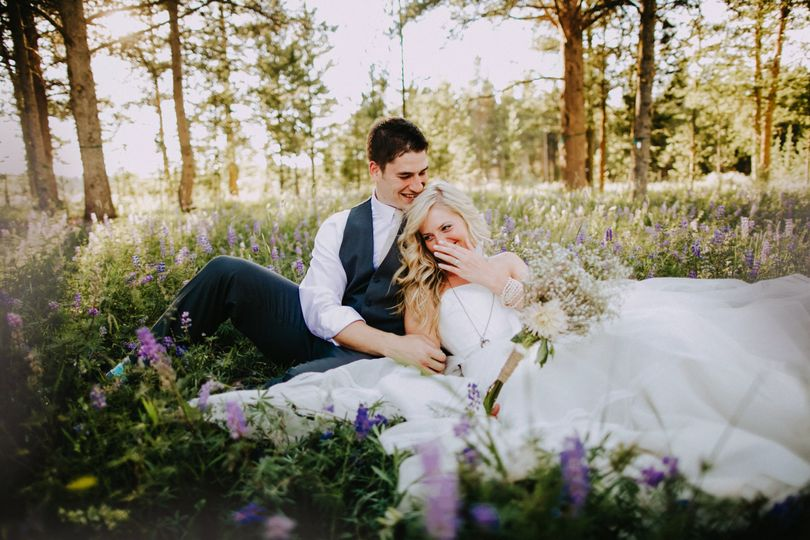 Couple in wildflowers