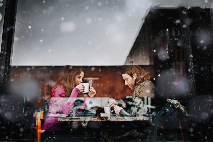 Snowy coffehouse engagement