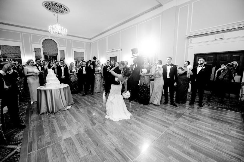 Reception in black and white shot