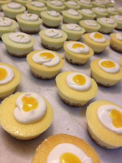 Key lime and passion fruit mini cheesecakes