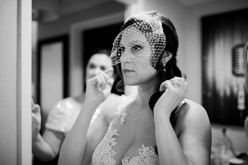 Bride wearing a net veil
