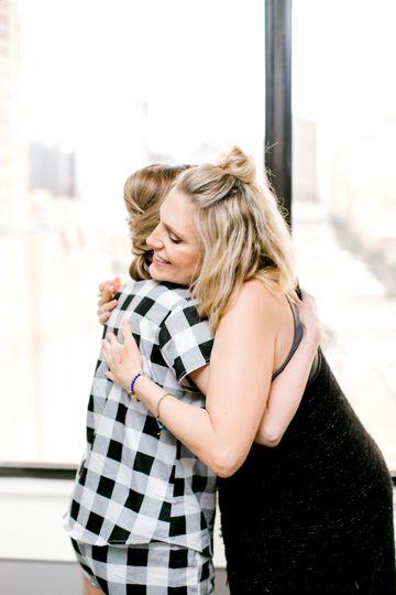 A congratulatory hug