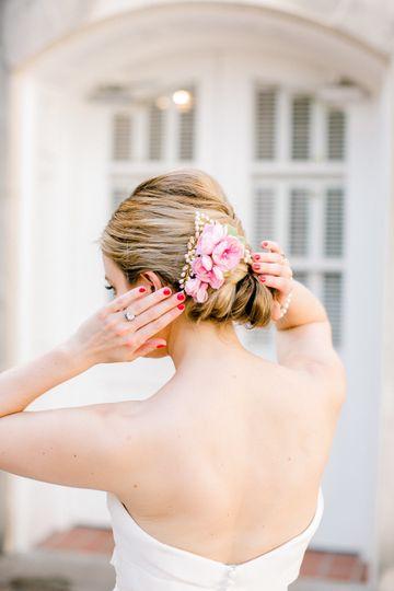 Flower hair ornament on an elegant updo