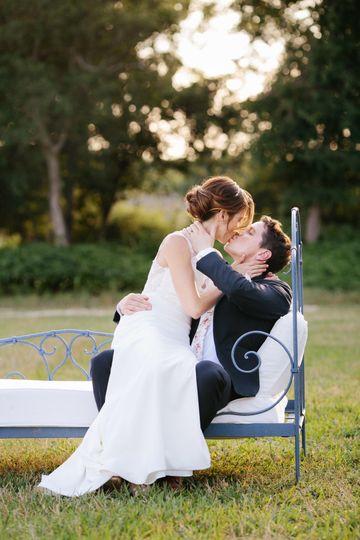 Couple share a kiss