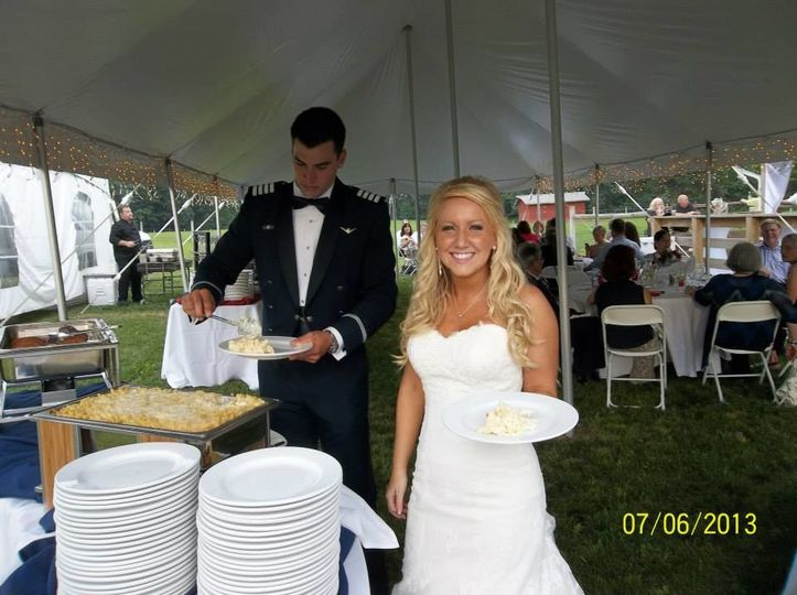 The bride about to eat