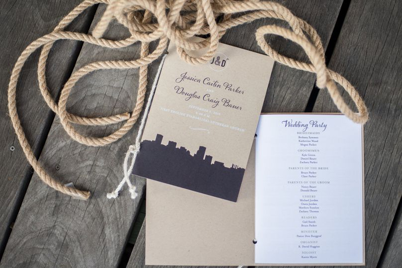 Multi-page Wedding Program with White Ink on Kraft Paper