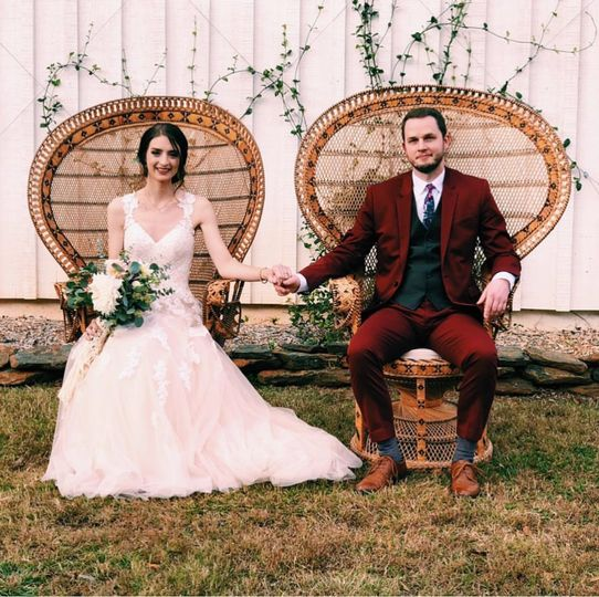 Bride and groom on their chairs