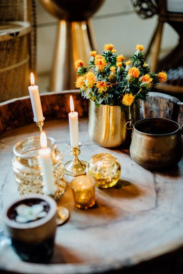 Candles and floral centerpieces