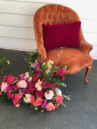 Flower arrangement by the chair