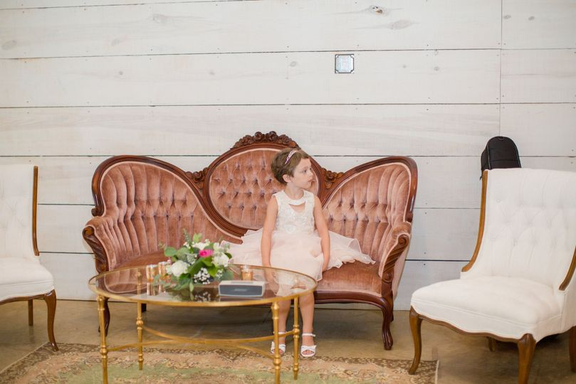 Flower girl on the chaise lounge