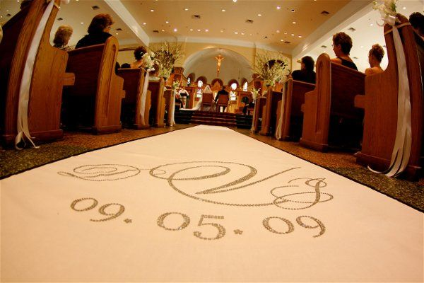 Custom aisle Runner with monogram and date in swavorski crystals