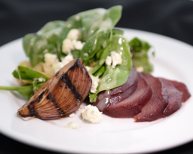 poached pear spinach salad