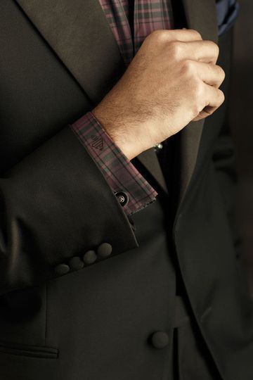 Add a plaid tuxedo shirt to your look for a completely different vibe.