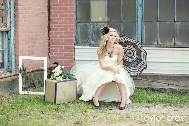 Bride posing with props