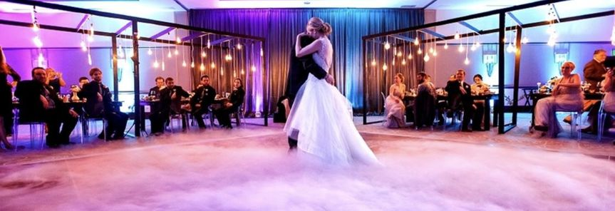 Sweet newlyweds dance