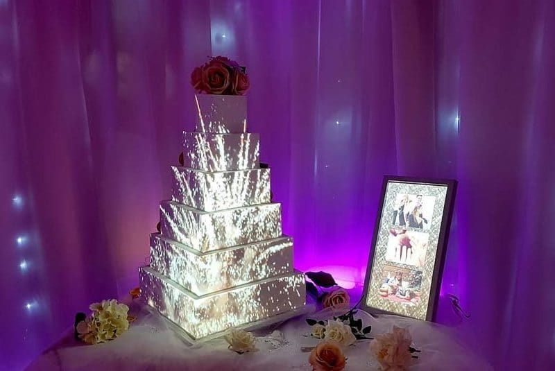 Magical wedding cake with lights