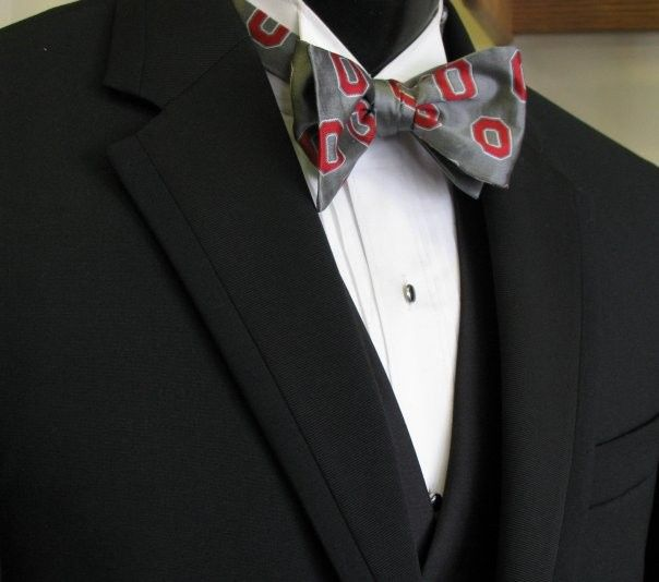 Black tuxedo with patterned bowtie