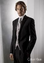 Black tuxedo with silver tie