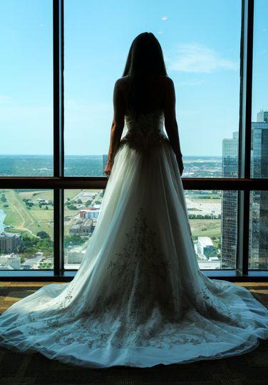 Bride overlooks downtown FW..