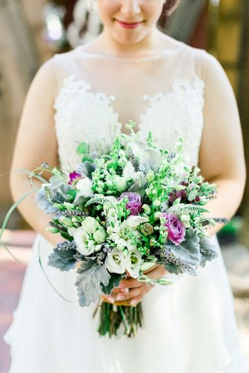 Bride and flowers