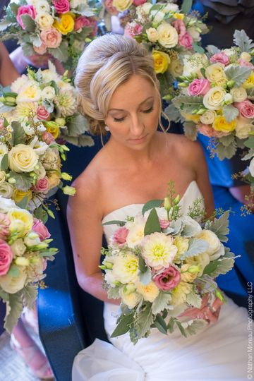 Bride in bridal car