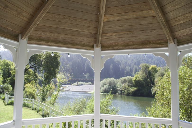 Our romantic gazebo facing out to the river!