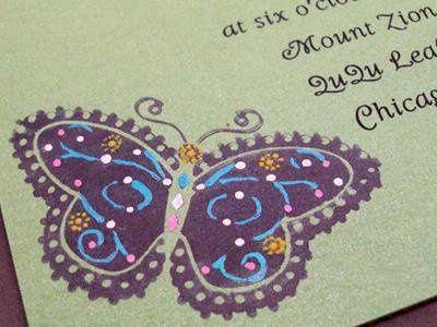 Garden Butterflies invitation - 5x5 - add backing to make it 6x6 or make it a pocketfold!