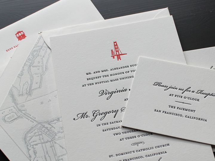 Tmx 1472586620271 San Francisco Cities Letterpress Wedding Invitatio Brooklyn wedding invitation