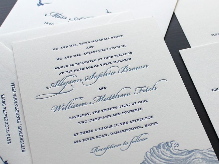 Tmx 1472586929550 Blue Maritime Letterpress Wedding Invitation 1 Brooklyn wedding invitation