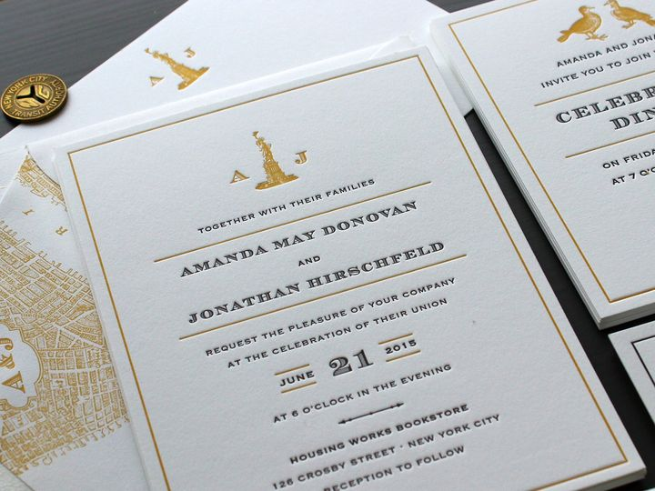 Tmx 1472587227132 Vintage Nyc Letterpress Wedding Invitation 1 Brooklyn wedding invitation